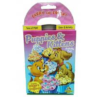 China Puppies / Kitten Coloring Book Printing Carry And Color Activity Pad Varnishing Finish wholesale