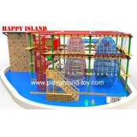 China Galvanized Steel  Home Park Adventure Playground Ropes / Solid Wood wholesale