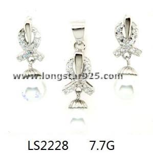 China wedding pearl sets, 925 silver cz wedding set jewelry wholesale