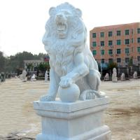 China Western Style Life-size White Marble Stone Sitting Lions Pair Sculpture wholesale