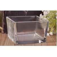 Buy cheap Clear Glass Candle Holder , Short Square Glass Candle Holders Scented Soy Candle Making Jars from wholesalers