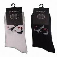 China Men's dress socks, Made of 66% combed cotton, 31% polyester and 3% spandex wholesale