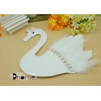 China Handwork Sew On White Swan Beaded Appliques For Clothing with White Feather wholesale