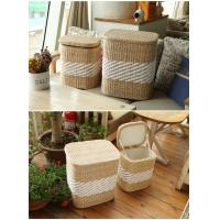China Storage basket wood cabinet rush and willow laundry basket wholesale