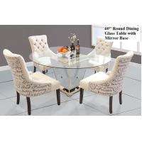 China Modern Round Mirrored Dining Table 60 Inches Tempered Glass Table Top on sale