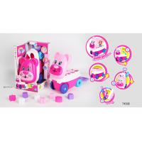 China Pink Building Blocks Educational Toys For Kids Age 3 Years / Animal Trolley Cart wholesale