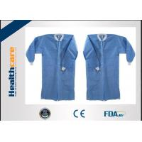 China PP / SMS Disposable Lab Coats Barrier Gowns With Hook And Loop Elastic Cuff Alcohol Resistant wholesale
