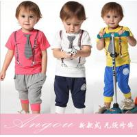 China 2014 spring-summer new arrived casual sport tie children baby boy clothing sets boys suit wholesale