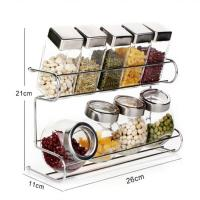 China BOERSI No drilling screw Easy Installation steel wall mounted kitchen spice rack with hook wholesale