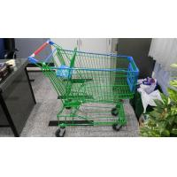 China Supermaket 150L Wire Shopping Trolley With Advertisement Board wholesale
