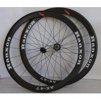Black 47mm Tubular Carbon Fiber Road Bike Wheels 700c Front / Rear Wheel