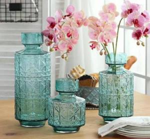 Green Flower Solid Glass Vase Set , Handmade Glass Vases For Weddings OEM