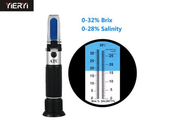 Quality Peso ligero de aluminio del refractómetro de Digitaces Brix con la construcción de cobre 0-32% Brix for sale