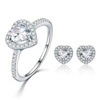 Infinity Love Heart 925 Sterling Silver Ring And Earring Set With Cubic Zirconia Stone