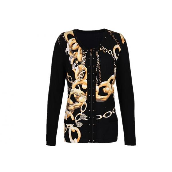 Quality Breathable Women's Knit Cardigan Sweaters with Zip Front Special Patterns for Winter for sale