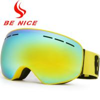China Big Vision Dual Lens Ski Goggles , Mirrored Snow Goggles For Night Skiing  wholesale