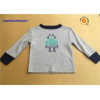 100% Cotton Children T Shirt Long Sleeve Round Neck Heather Gray SGS Certified