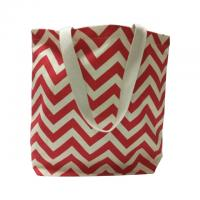 China Wave Picture Red Custom Made Canvas Bags / Tote Shopper Bag wholesale