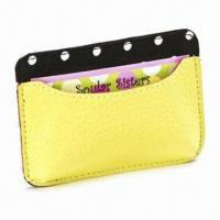 China Card Holder, Made of Genuine Leather, Measures 11 x 7.5cm, Various Colors are Available wholesale