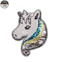 China Delicate Reverse Sequin Unicorn Patch Handmade Pin Backing Any Size Available wholesale