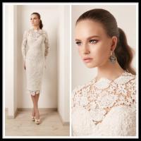 China White Lace Plus Size Cocktail Dress Short With Long Sleeve , Knee Length Gowns wholesale