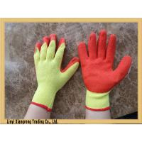 China Crinkle finished red latex coated yellow poly cotton work gloves wholesale