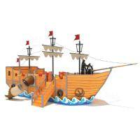 China Commercial Outdoor Pirate World Playground For Sale , Wooden Outdoor Pirate Ship Equipment on sale