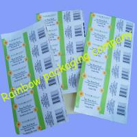 China Customized Packaging Plastic Film , Transparent Barcode Self-adhesive Sticker wholesale