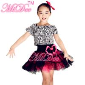 Zebra Tank Top Polka Dot Cerise Tulle Skirt Outfit With Black Leotard