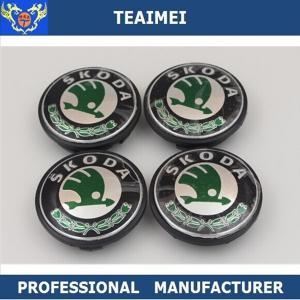 China 65 / 55mm Car Wheel Hub Caps Logo ABS Plastic Black For Skoda wholesale