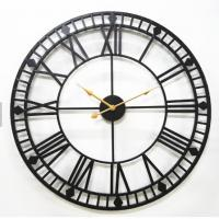 China Nordic Extra Large Wrought Iron Vintage Roman Numeral Quartz Classical Wall Clock Design on sale