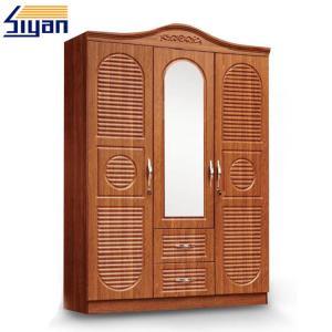 China Custom Swinging Closet Doors PVC Film Pressed With 3 Doors And 2 Drawers wholesale