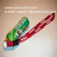 China Water bottle holder neck ribbons, polyester ribbon with bottle holder loop on sale