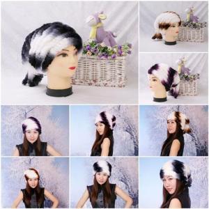 China Women's Fur Hat Rex Rabbit Fur Hat Fur Cap Rex Rabbit Fur Headgear Fur Chapeau Gradien 3 Colors wholesale