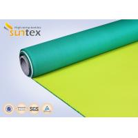 China Fiberglass Fire Curtain PU Coated Fiberglass Fabric For Air Distribution System Yellow Green Shade For Welding wholesale