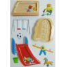 China Kindergarten Playground Vintage Puffy Stickers , Soft Decorative Sticker Sheets wholesale