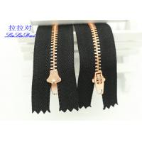 China Semi Auto Lock Metal Open Ended Zips , Antique Copper Teeth Double Ended Zips For Coats wholesale