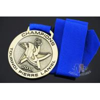 Buy cheap Champions, Racing And Swimming Metal Award Medals Zinc alloy Material, Antique gold Plating, Blue Ribbon from wholesalers