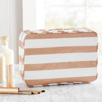 China Laminated Cotton Cosmetic Toiletry Bag , Zipper Closure Travel Organizer Bag on sale