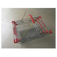 China Steel Chrome Plated Supermarket Metal Wire Hand Held Shopping Baskets With Double Handles wholesale