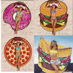 China Women Beach Cover Up Pareo Pizza Creative Shape Beach Mat Swimwear Cartoon Cloak mats Summer Saida De Praia wholesale