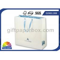 China Eco friendly Recycled White Paper Kraft Bag with Ribbon Handle , Kraft Paper Shopping Bags wholesale