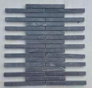 China Carbon Black Slate Mosaic Pattern Natural Stone Mosaic Wall Tiles Charcoal Slate Mosaic Parquet on sale