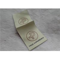 Logo Mid Fold Woven Clothing Labels Shinny Gold 0.4mm Thickness OEKO SGS BV
