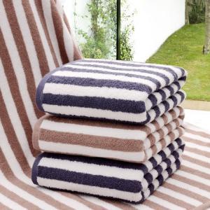 China wholesale 100% cotton striped hotel bath towels on sale