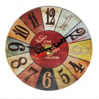 China Quartz Multi Color Cafe Wall Clock Non-Ticking Silent Retro Arabic Number Clock for Home Living Room Bedroom Kitchen wholesale