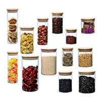 China Bamboo Lid Glass Storage Bottle , Kitchen Storage Containers Glass Material wholesale