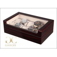 China 10 Slot Wood And Glass Display Case , Wooden Watch Box With Glass Top wholesale