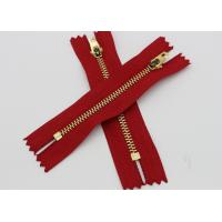 China Red Tape Brass Long Coat Zippers , Normal Brass Teeth Jeans Bulk Metal Zippers wholesale