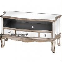China Antique Mirrored TV Stand W160 * D40 * H55cm Size Gold Wooden Trimming wholesale